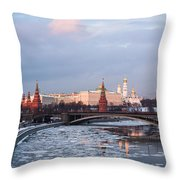Moscow Kremlin In Winter Evening - Featured 3 Throw Pillow