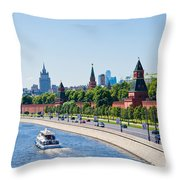 Moscow River And Kremlin Embankment In Summer - Featured 3 Throw Pillow
