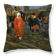 Moscow Street On A Public Holiday Throw Pillow