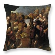 Moses And The Water From The Stone Throw Pillow