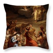 Moses Descends From Mount Siniai With The Ten Commandments Throw Pillow