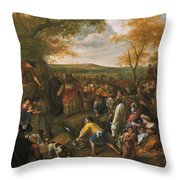 Moses Striking The Rock Throw Pillow