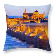 Mosque-cathedral And The Roman Bridge In Cordoba Throw Pillow