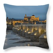 Mosque Cathedral Of Cordoba Also Called The Mezquita And Roman Bridge Throw Pillow