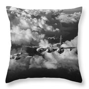 Mosquitos Above Clouds Black And White Version Throw Pillow
