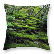 Moss Forest In Kyoto Japan Throw Pillow