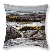 Moss Rocks Hawaii Throw Pillow