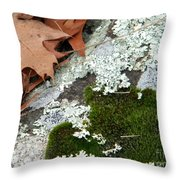 Mossy Leaves Throw Pillow