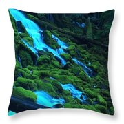 Mossy Rock City Throw Pillow