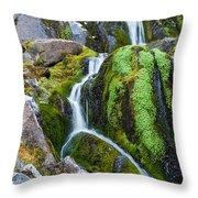 Mossy Waterfall At Snow Lake Throw Pillow