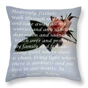 Most Powerful Prayer With Rosebud Throw Pillow