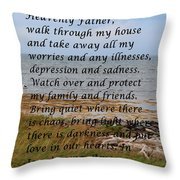 Most Powerful Prayer With Seashore Throw Pillow