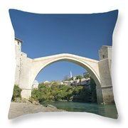 Mostar Bridge In Bosnia Throw Pillow