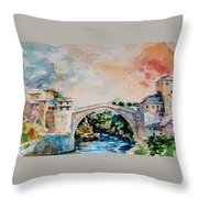 Mostar Bridge Throw Pillow