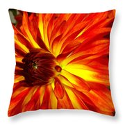 Mostly Orange Dahlia Flower Throw Pillow