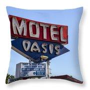 Motel Oasis Throw Pillow