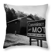 Motel Sign In Black And White Throw Pillow