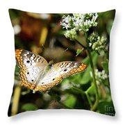 Moth On White Flower Throw Pillow