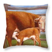 Mother And Baby Cow Throw Pillow