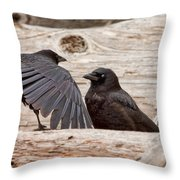Mother And Baby Crow At The Beach Throw Pillow