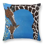 Mother And Baby Giraffe Throw Pillow