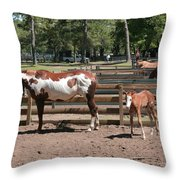 Mother And Baby Horses Throw Pillow