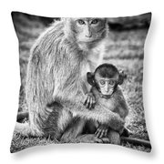 Mother And Baby Monkey Black And White Throw Pillow