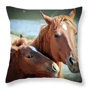 Mother And Filly Throw Pillow