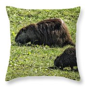 Mother And Child - Coypu - Nutria Throw Pillow