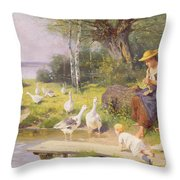 Mother And Child With Geese Throw Pillow