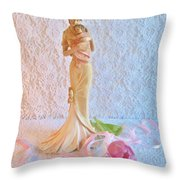 Mother And Child With Pink Tulips Throw Pillow
