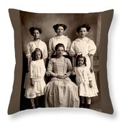 Mother And Daughters Throw Pillow