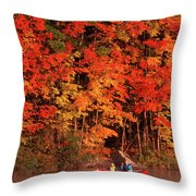 Mother And Son Canoeing Near Fall Throw Pillow