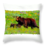 Mother Bear And Cub In Meadow Throw Pillow