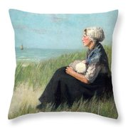 Mother In The Dunes Throw Pillow