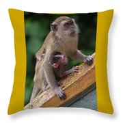 Mother Monkey And Her Baby Throw Pillow
