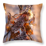 Mother Nature's Christmas Decorations - Golden Oak Leaves Jewels Throw Pillow