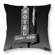 Mother Road Motel Black And White Throw Pillow
