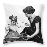 Mother Scolding Tearful Child Throw Pillow