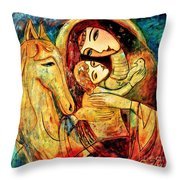 Mother With Child On Horse Throw Pillow