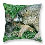 Mother Wolf Nuzzles Cubs Throw Pillow