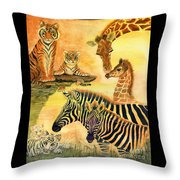 Mother's Day In The Wild Kingdom Throw Pillow