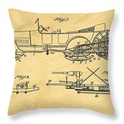 Motor Driven Sleigh Support Patent Drawing From 1915 1 Throw Pillow