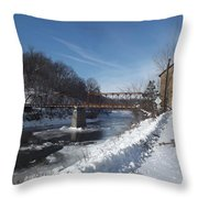 Motor Mill In Winter Throw Pillow