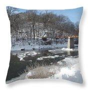Motor Mill Winter Pano Throw Pillow
