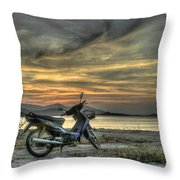 Motorbike At Sunset Throw Pillow