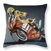 Motorbike Racing Grunge Color Throw Pillow