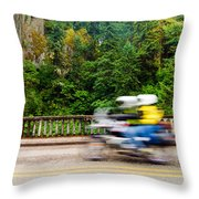 Motorcycle And Green Forest Throw Pillow
