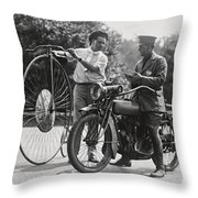 Motorcycle And Velocipede - 1921 Throw Pillow