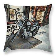 Motorcycle At Philadelphia Eddies Throw Pillow